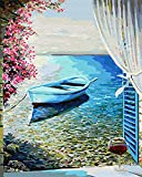"iCoostor Paint by Numbers DIY Acrylic Painting Kit for Kids & Adults– 16"" x 20""Sea Wiew Outside The Window Pattern"