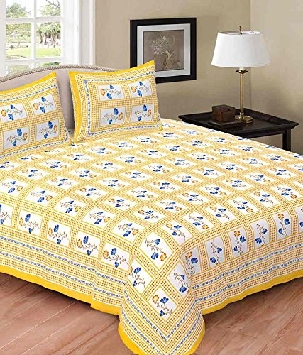 Durable Modeling Double Bed Sheet Rajasthani Print Double Bed Sheets Hand  Screen Flower Block Printing 100