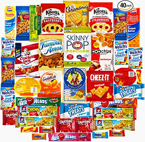 Ultimate Sampler Care Package - New Assortments of Snacks, Chips, Cookies, Bars, Candies, Nuts for College Students, Christmas, Holidays, Office, Military, Meetings, Travel & Final Exams (Red, 40)