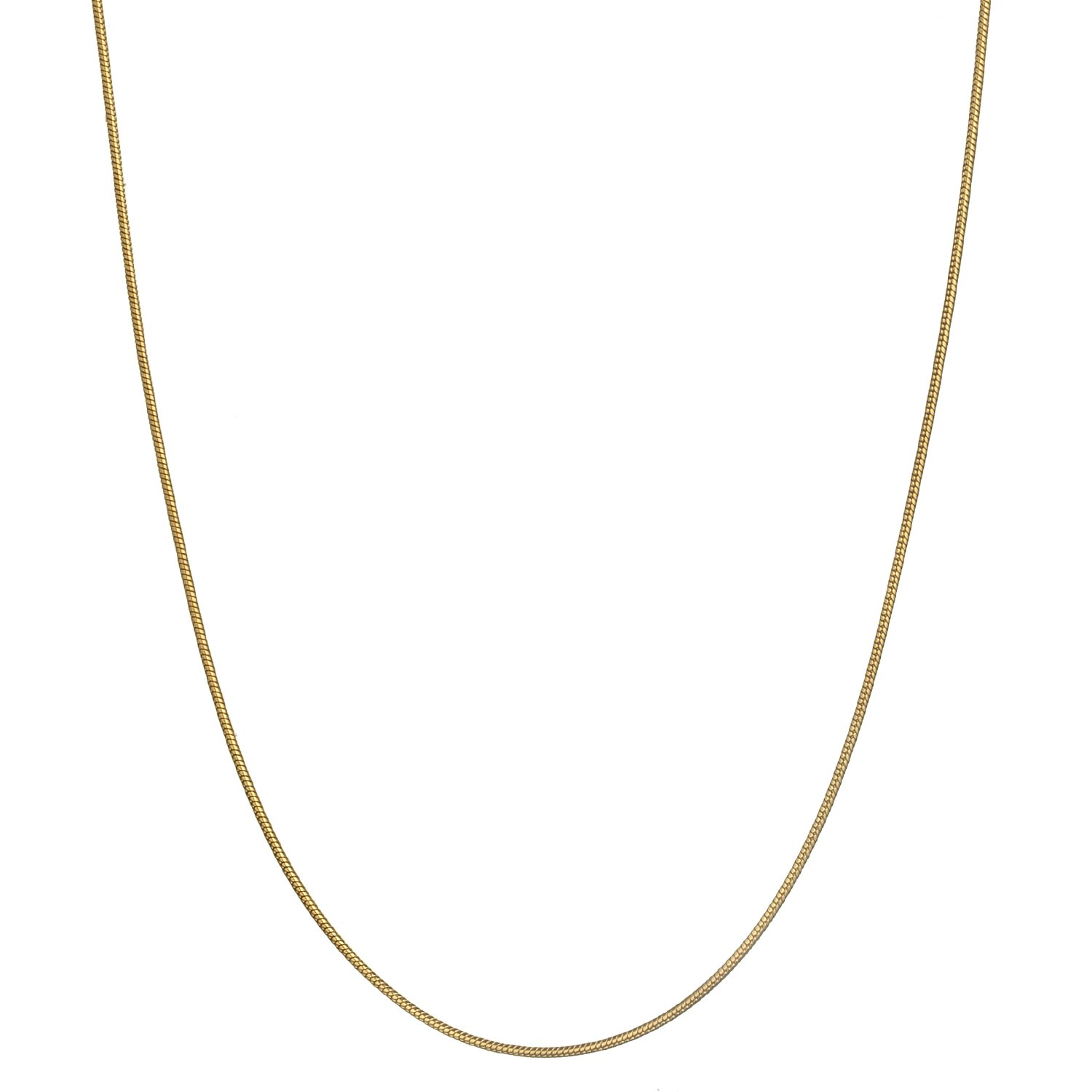 18K Gold Flashed Sterling Silver 1.2mm Classic Italian Snake Chain Necklace - 20''