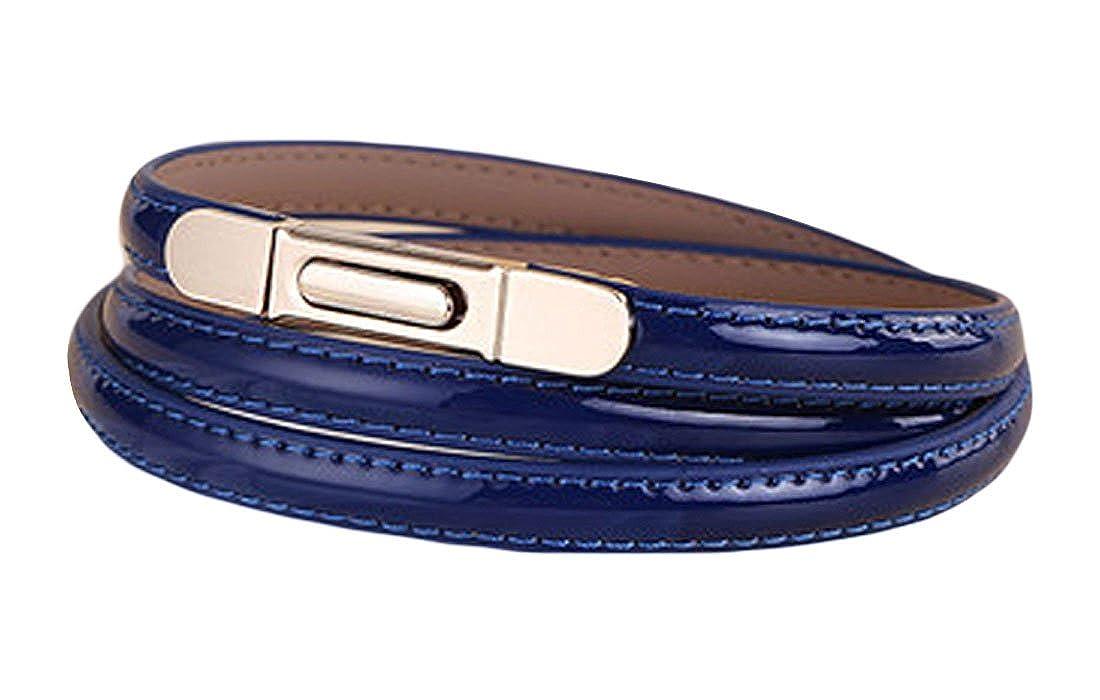 MFrannie Womens Fashion Patent Leather Thin Narrow Dress Jean Belt