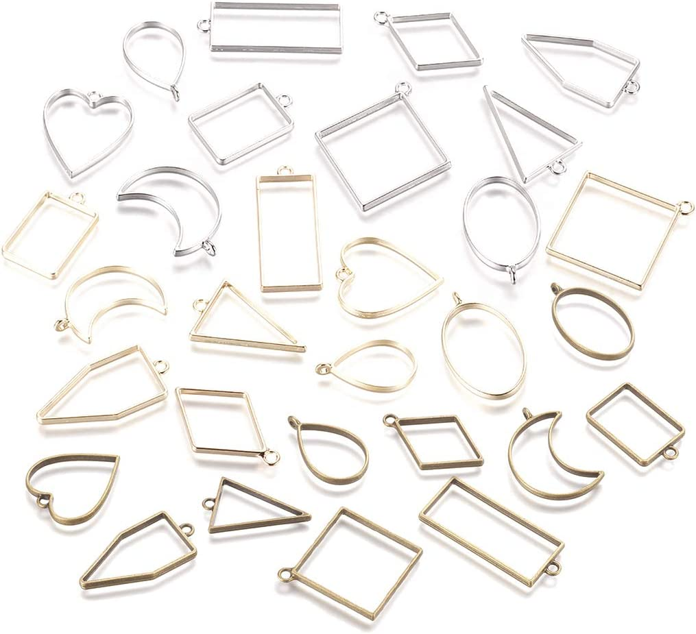 DROLE 40Pcs Open Back Bezel Pendants Assorted Geometric Hollow Frame Pendant Blanks for DIY Resin Crafts Gold Color