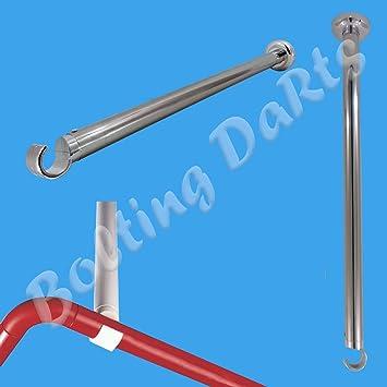 Shower Curtain Rail Ceiling Support 55cm Length Corner Rail Rod ...