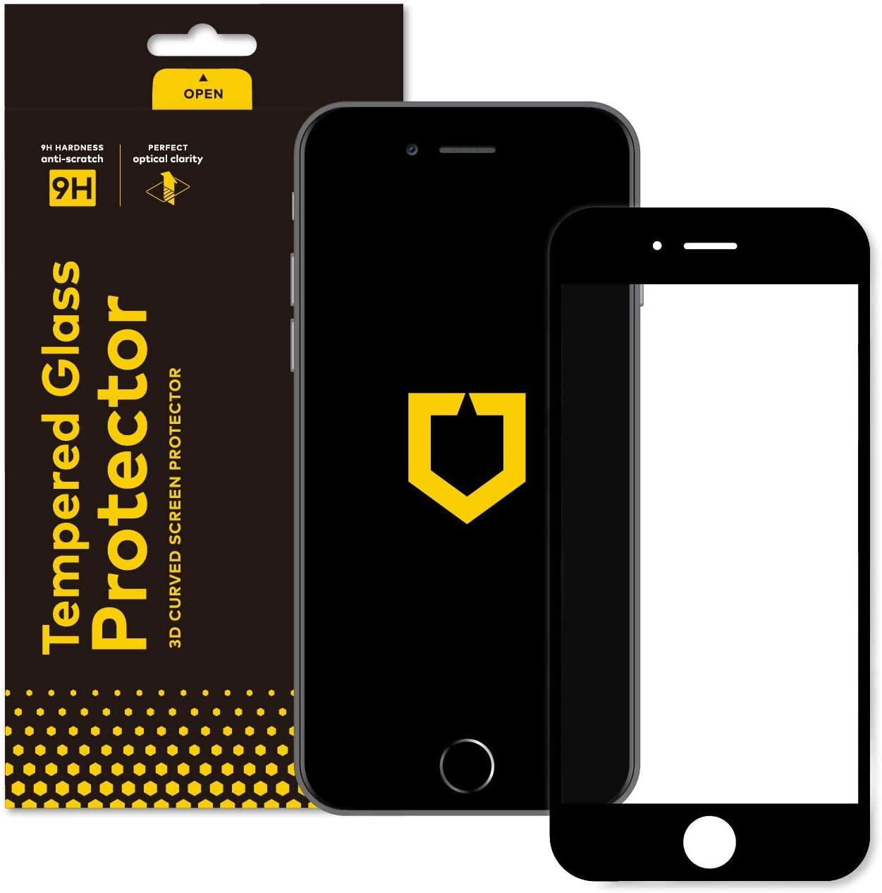 RhinoShield Screen Protector compatible with [iPhone 8 Plus/iPhone 7 Plus] | 9H 3D Curved Edge to Edge Tempered Glass - Full Coverage Clear and Scratch Resistant Screen Protection - Black