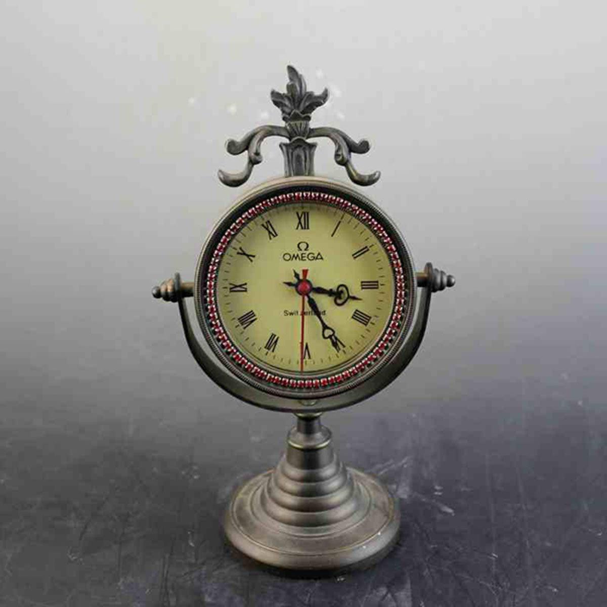European Mechanics Desk clock Decoration alarm clock Antique copper watch