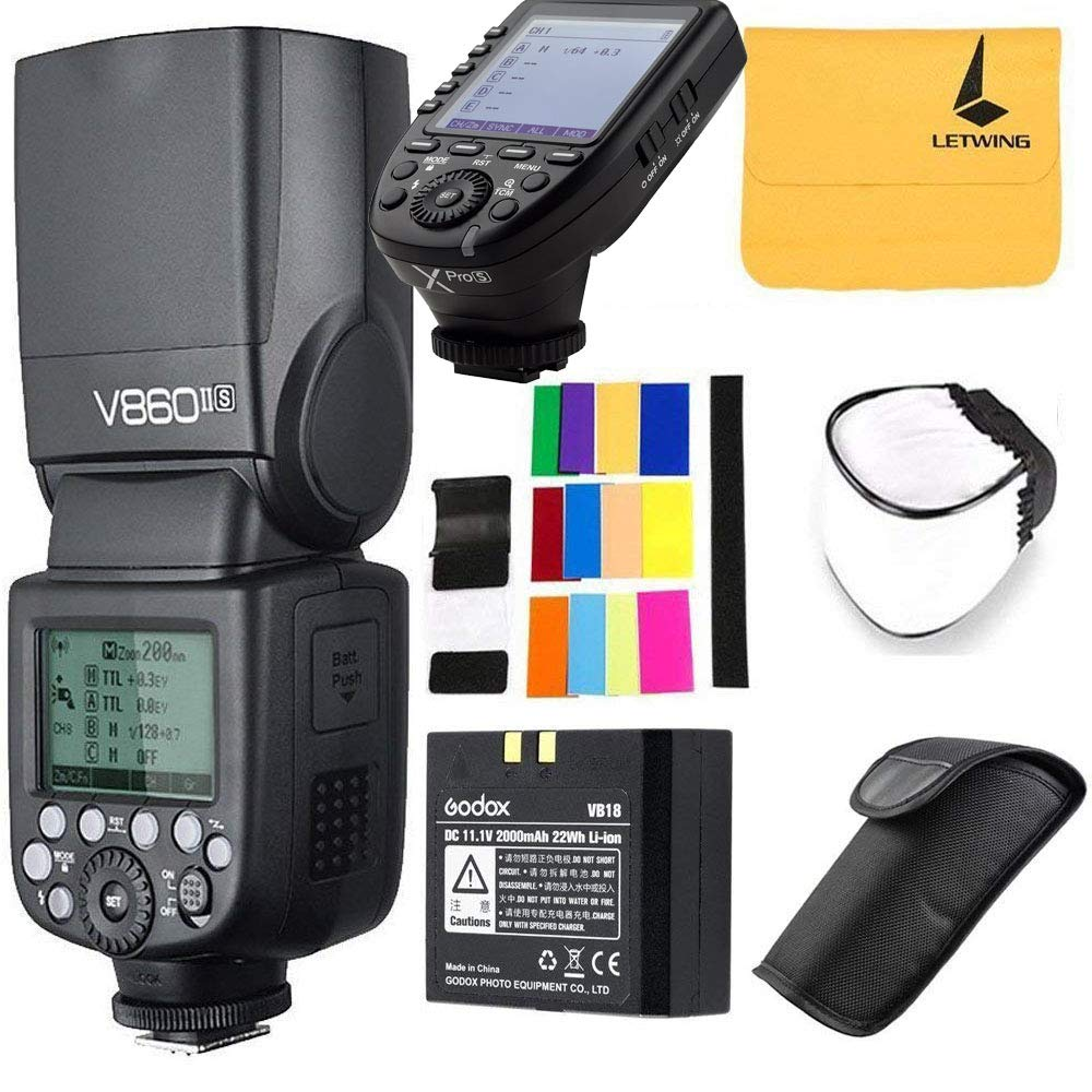 Godox V860II-S Ving 2.4G TTL Li-on Battery Camera Flash Speedlite Compatible Sony Camera,Godox XPro-S Wireless Flash Trigger X System High-Speed with Big LCD Screen