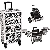 Sunrise I3564ZBWH Zebra 3 Tiers Accordion Trays 4 Wheels Professional Rolling Aluminum Cosmetic Makeup Craft Storage Organizer Case and 3 Tiers Extendable Trays with Mirror and Brush Holder