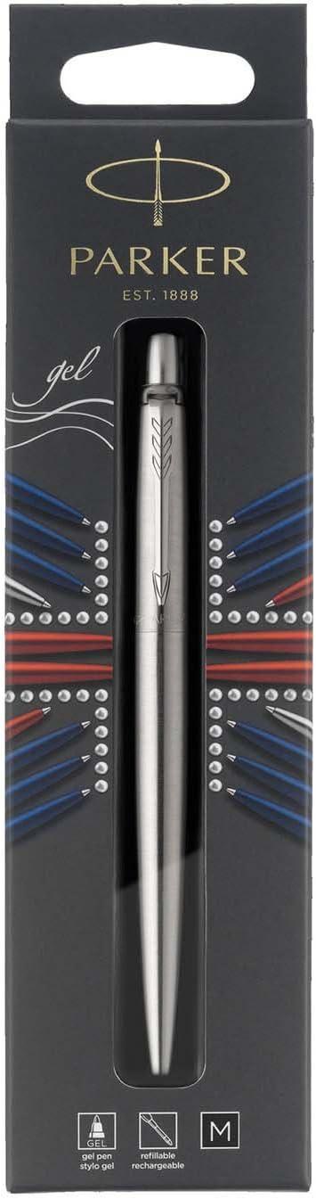 PARKER Jotter bolígrafo de gel, acero inoxidable con adorno cromado, tinta negra con punta mediana (0,7mm), blíster (2020671)