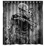 "Custom Waterproof Bathroom Danger Skull Fire Gun Shower Curtain Polyester Fabric Shower Curtain 66""(w)x 72""(h)"