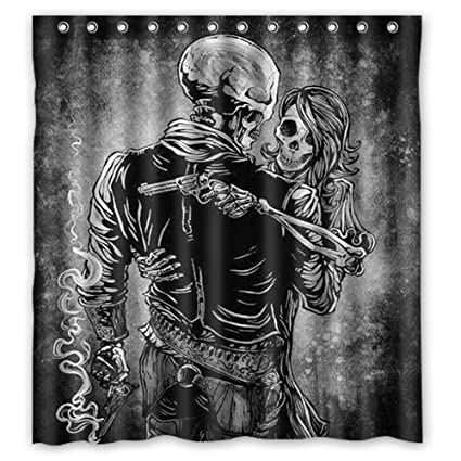 Amazon Shower Curtain Custom Waterproof Bathroom Danger Skull