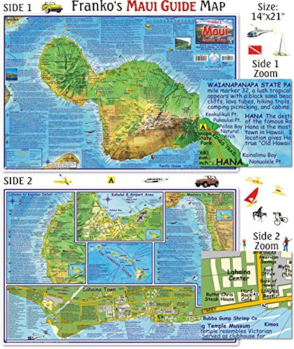 Topographic Map Of Maui.Amazon Com Franko Maps Maui Guide Map For Scuba Divers And