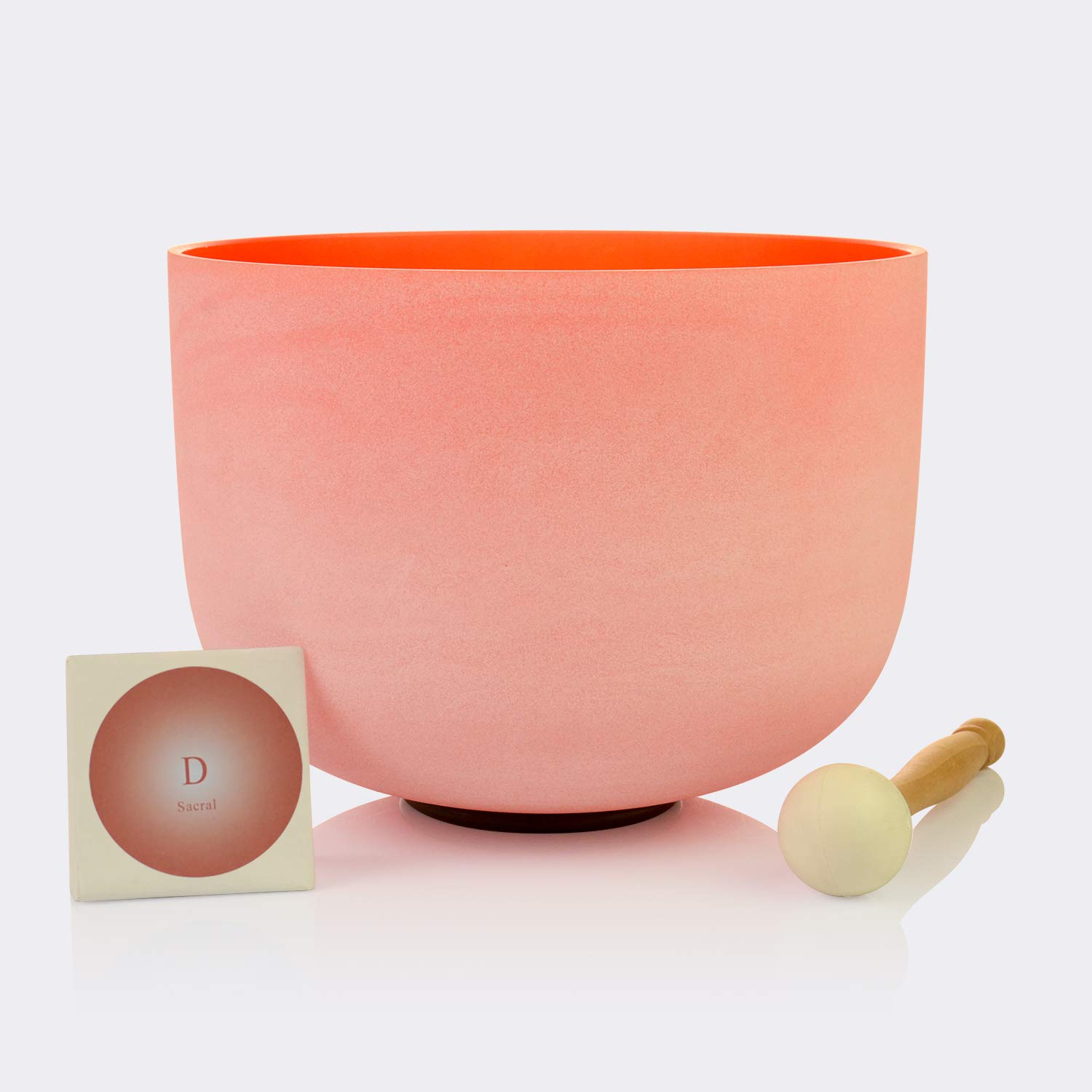 TOPFUND Singing Bowls D Note Crystal Singing Bowl Sacral Chakra Orange Color 12 inch (O ring and Rubber Mallet Included)