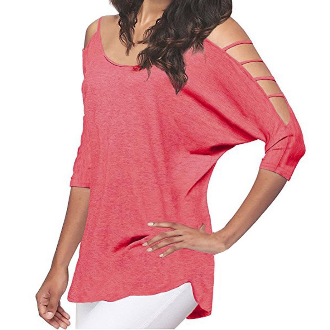 Dressffe Loose Hollowed Out Shoulder Three Quarter Sleeve Blouses for Women Fashion 2018 Womens Summer Tops (M, Pink) by Dressffe