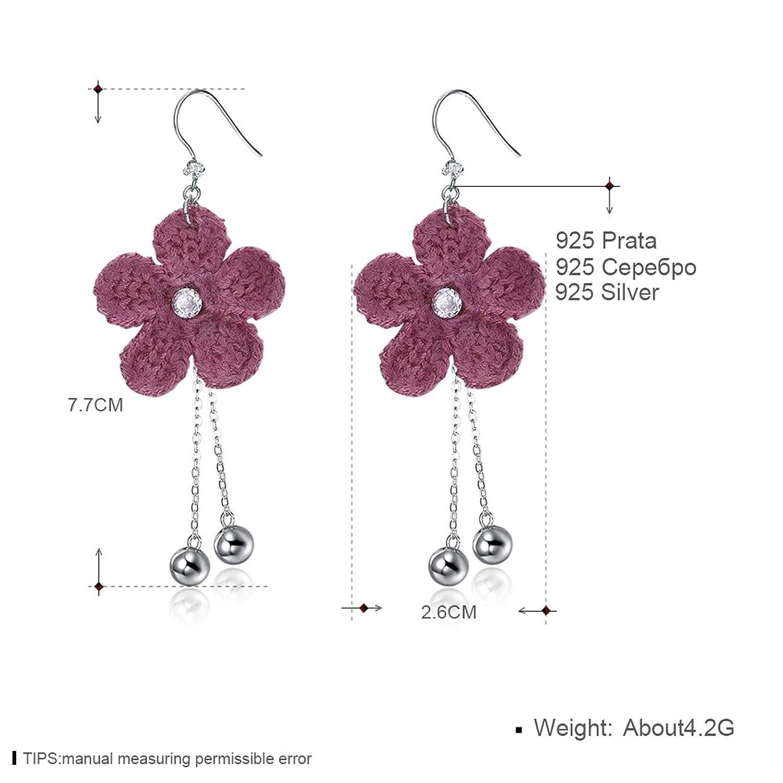 Beydodo Sterling Silver Flower Earrings Nickle Free Drop Earrings Bridal Wollen Flower Cubic Zirconia