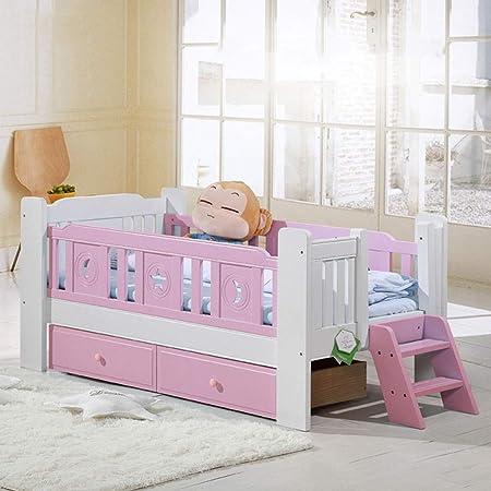 DUWEN Cama para niños Cama de Madera Maciza para niños Cuna multifunción para bebés Cama para niños pequeños con barandilla y Escalera de Cola (Color : Powder White): Amazon.es: Hogar