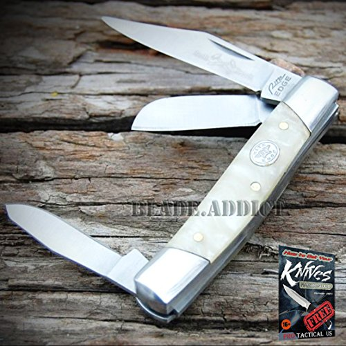"""2.75"""" WHITE PEARL SMALL TRIO 3 BLADE STOCKMAN FOLDING POCKET KNIFE COLLECTIBLE + free eBook by ProTactical"""