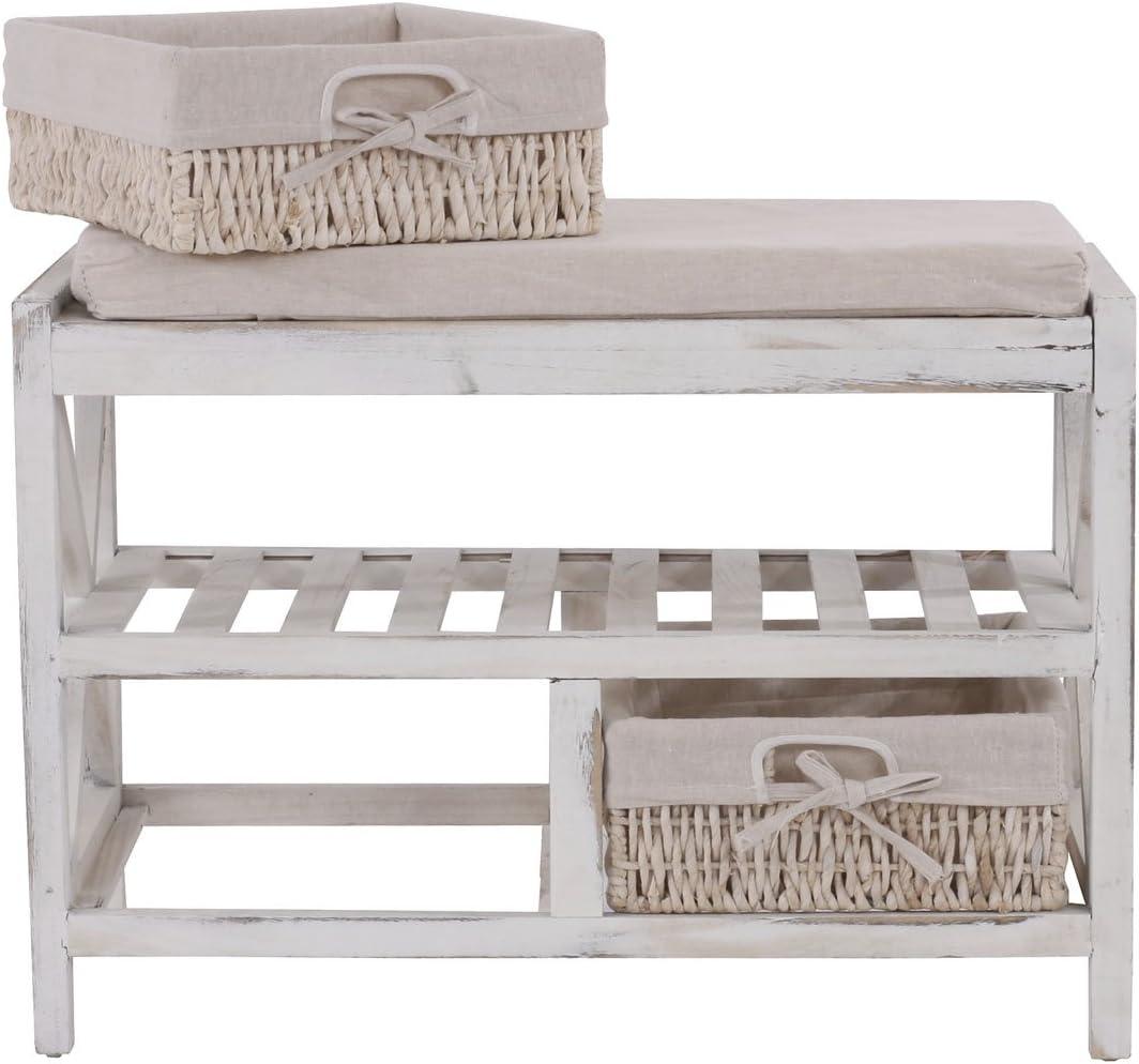 Mendler Serie vintage panca cassettiera con 2 ceste e ripiano HWC-C48 legno di paulonia bianco