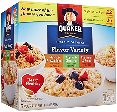 Quaker Instant Oatmeal Variety, 52 ct
