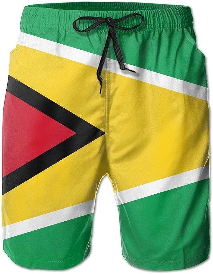 ZQHRS Guyana Banderas de países Hombres/Niños Bañadores Casuales Pantalones de Playa de Cintura elástica Corta con Bolsillos: Amazon.es: Ropa y accesorios