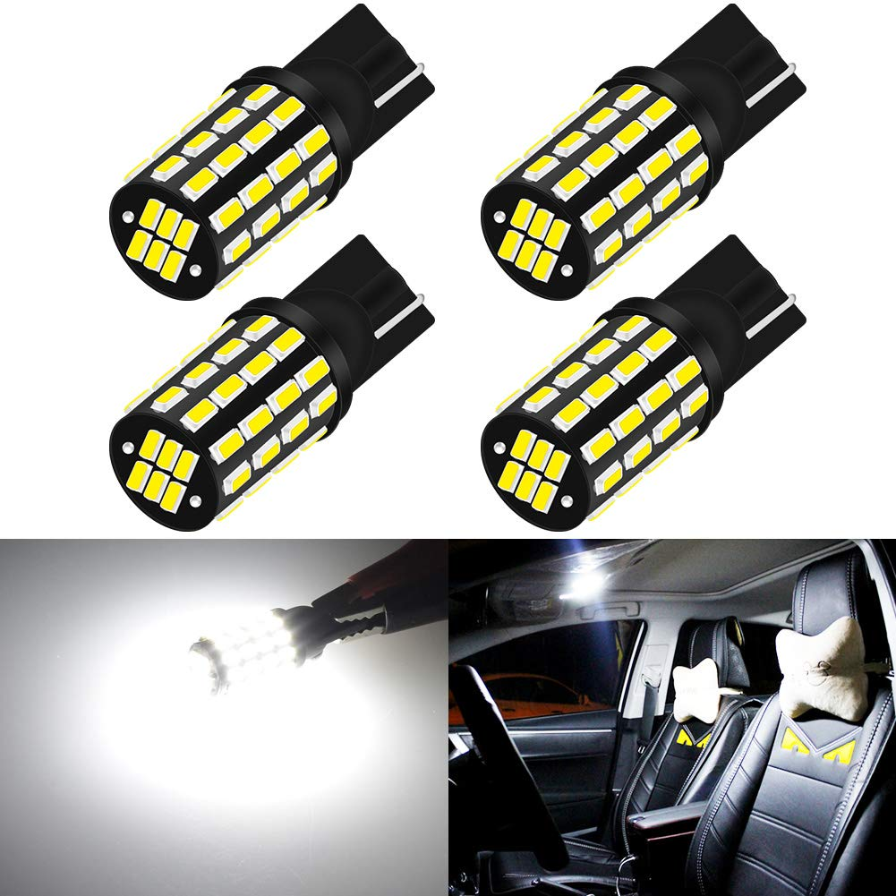 KaTur 2pcs 194 LED Bulb Extremely Bright T10 168 175 2825 W5W 3014 Chipsets 54SMD 800 Lumens 12V-24V LED Bulbs Front Rear Sidemarker Light Bulbs License Plate Parking Tail Back Up Light Xenon White