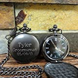 Personalized Gunmetal Pocket Watch Custom with Monogram Engraved - Gifts for Men- Best man - Groomsman - Christmas - Monogrammed
