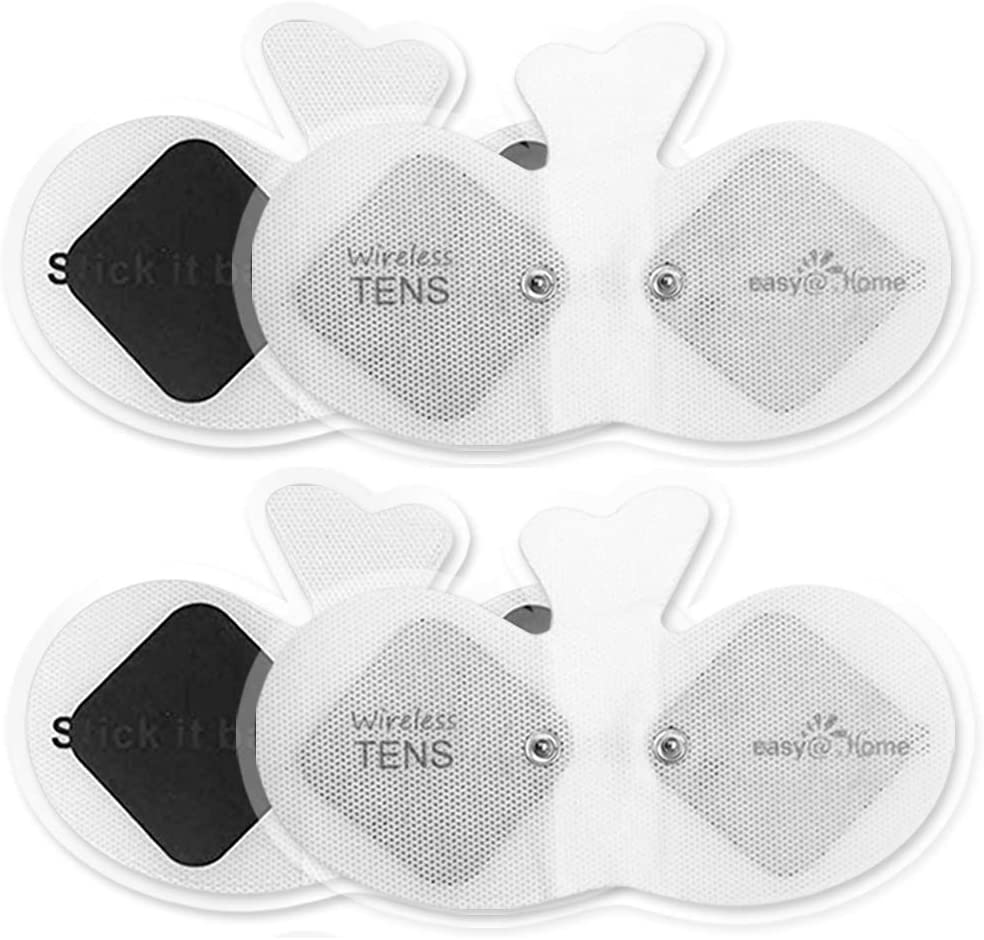 """Easy@home Wireless Tens Unit Self Stick Carbon Electrode Pads, 4 Pack 6.5"""" x 3"""" Reusable Pads- Non Irritating Design ETP015"""