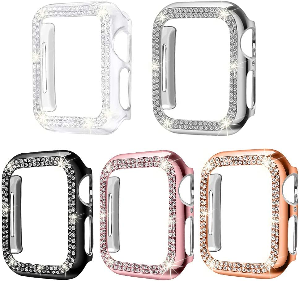Supoix 5 Pack Cases Compatible for Apple Watch 38mm, Bling Full Cover Screen Protector Bumper Frame Case for iWatch Series 3 2 1 (38mm)