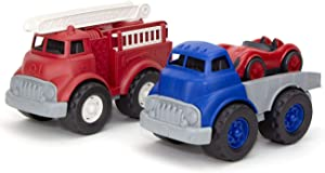 Green Toys Fire Truck with Flatbed Truck & Race Car, Model:FIFLTK-1422