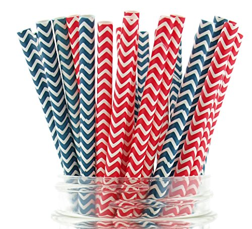 (USA Patriotic Paper Straws (50 Pack) - Freedom Red, White & Blue July 4th Straws, Independence Day BBQ Party Supplies, US Flag Color)