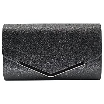 Wiwsi Clutch Bag Women Purse Handbag Sparkling Evening Party Lady Handheld Bags(black)