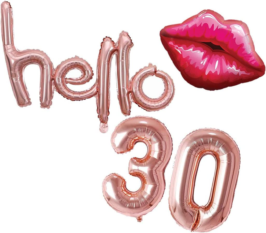 """Party /""""Hello 30/"""" Gold Script Foil Balloon Number Balloons Birthday"""