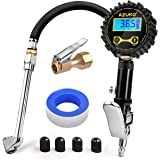 AZUNO Digital Tire Inflator with Pressure Gauge, 200 PSI, Heavy Duty Air Compressor Accessories, w/Rubber Hose Lock on…