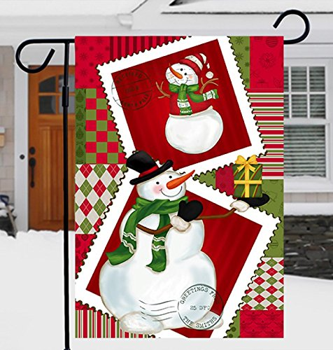 93701b5f21 Premium Christmas Garden Flag Merry Christmas Decoration Holiday flag  Decorations with Cute Snowman for inside or outside 12 x 18 Double sided  Reads ...