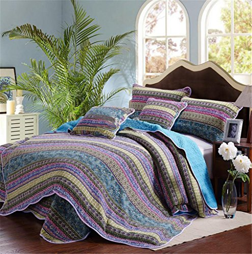 Striped Jacquard Style 3 Piece Patchwork Bedspread Quilt