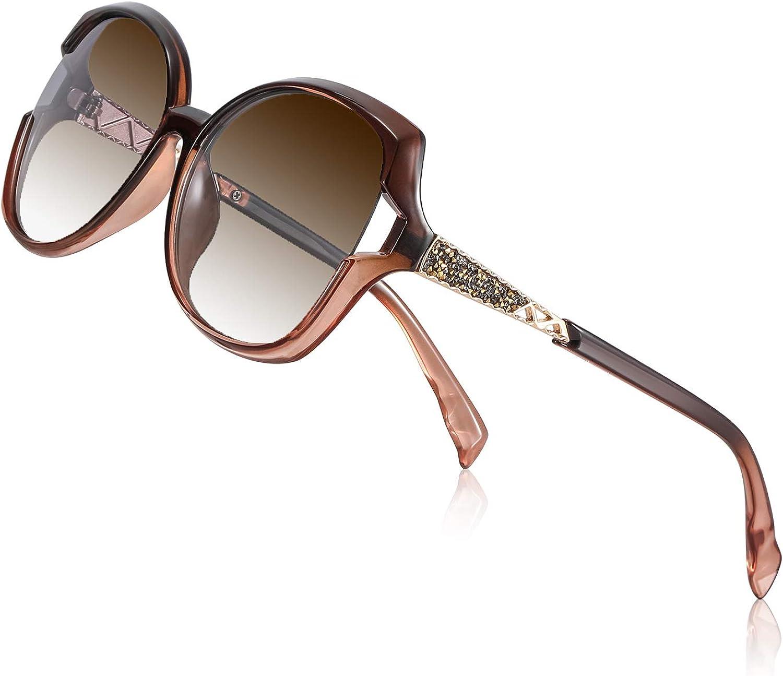 PORPEE Gafas de Sol Mujer Polarizadas, 2020 Gafas de Sol Moda con Tecnología de Incrustación de Diamante - Lente de Nylon Polarizado   UV400 Protection   Resistencia al Deslumbramiento