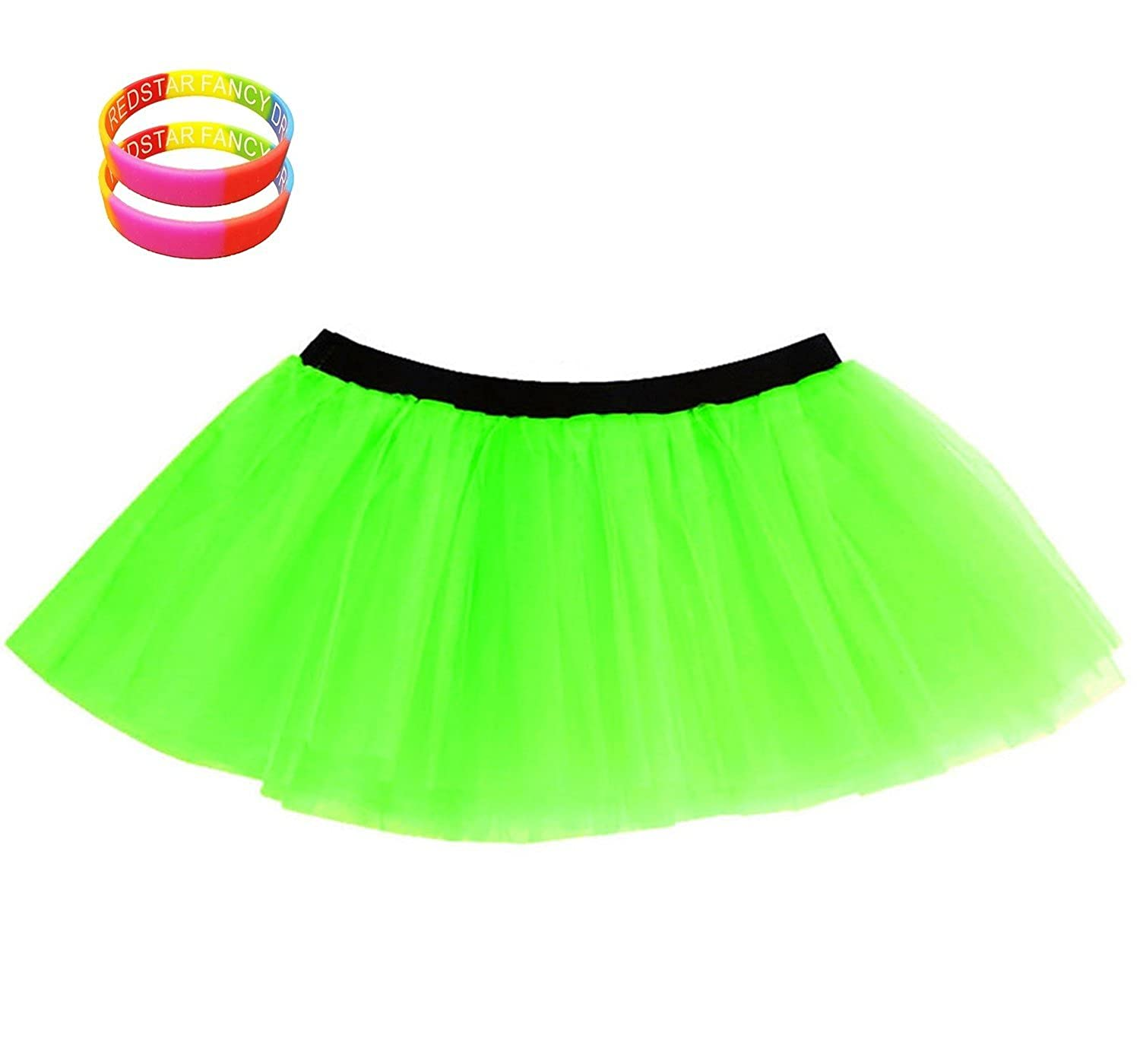 2X Free Rainbow Wristbands Red Star Redstar Fancy Dress Neon Tutu Skirt Perfect for 80s Neon Nights Fun Runs and Events