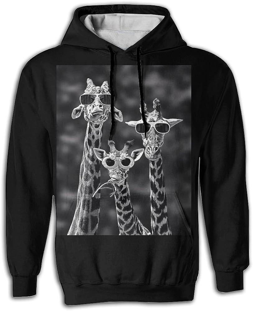 FUSALIN Sunglass GiraffesUnisex 3D Printed Sweatshirt Casual Pullover Hoodie With Big Pockets