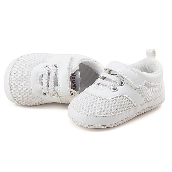 DELEBAO Sneakers Bambino Scarpe Primi Passi Morbide Scarpe da Neonato Traspirante Filato Netto Scarpe Bimba (Marrone,6-12