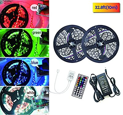 Uplights Led Strip Lights Kit Non-waterproof SMD 5050 32.8 Ft (10M) 300LEDs RGB Light Strip with 44key IR Controller and 12V 5A Power Supply for Indoor Home Trucks Boats Kitchen Bedroom Sitting Room and Party