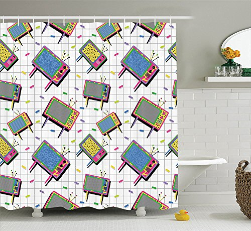 [Vintage Decor Collection Funny Retro 80s Memphis Neon Color Tv with Trendy Background Mad Men Decorative Cartoon Polyester Fabric Bathroom Shower Curtain Set with Hooks] (Vintage Halloween Costumes From The 80s)