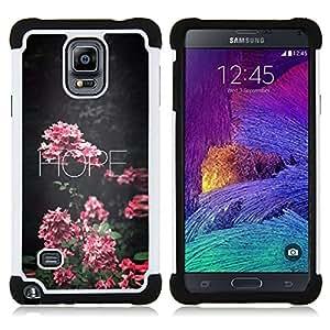 - hope floral school teacher pink text/ H??brido 3in1 Deluxe Impreso duro Soft Alto Impacto caja de la armadura Defender - SHIMIN CAO - For Samsung Galaxy Note 4 SM-N910 N910
