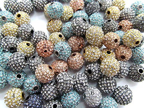50pcs 10mm Bling Micro Pave Crystal assorted Shamballa Ball beads, Micro Pave Hematite Findings Charm, Round Ball connector (Bling Brads 10 Mm)