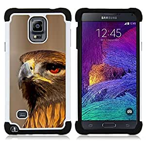 BullDog Case - FOR/Samsung Galaxy Note 4 SM-N910 N910 / - / PREY HUNTING HAWK NATURE ORNITHOLOGY BIRD /- H??brido Heavy Duty caja del tel??fono protector din??mico - silicona suave