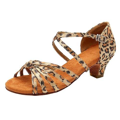 fae99700a Mitlfuny Zapatos de Tango Latino para Niños Vestir Fiesta Leopardo Princesa  Sandalias de Punta Descubierta Cuero