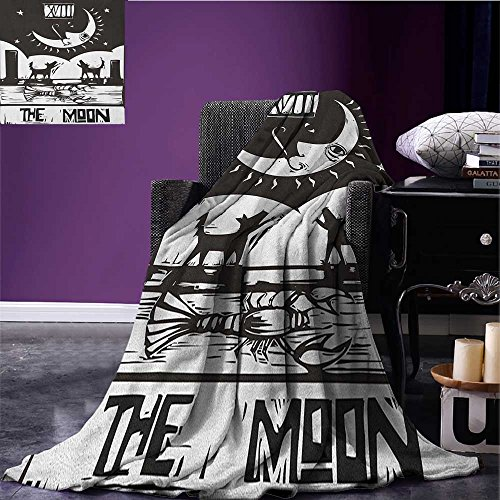 Moon travel blanket Black and White Drawing Style Lobster Wo