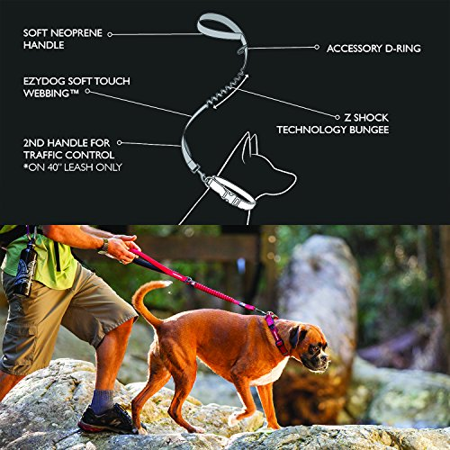 Image of EzyDog ZERO SHOCK Leash - Best Shock Absorbing Bungee Dog Leash & Training Lead - Double Handle Reflective Leash For Traffic Control - For Walking, Jogging and Running (25-Inch, Pink Camo)