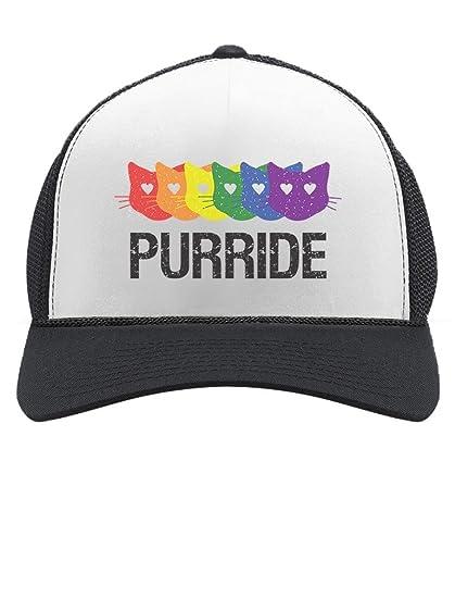 8cc505de9b788 Purride Gay   Lesbian Pride Cat Lover Rainbow Flag Parade Trucker Hat Mesh  Cap One Size