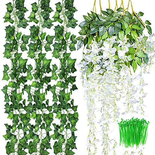CEWOR 18pcs Artificial Wisteria Flowers Vines Include 6pcs (3.6feet) Fake Silk Hanging Flower and 12pcs(6.5feet) Fake Ivy Vines with Cable Ties for Wedding Party Garden Wall Decoration