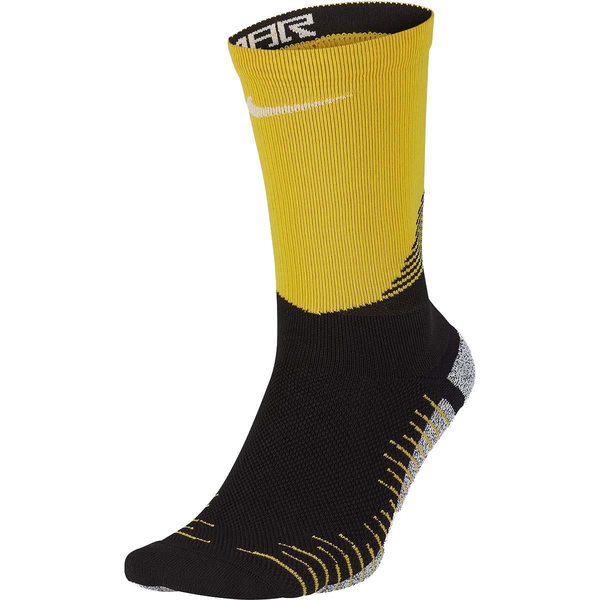 47089a884 Amazon.com: Nike Men's NikeGrip Strike Cushioned Crew Soccer Socks  (10-11.5, Yellow(SX7801-010)/Black/White): Clothing