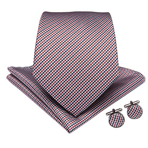 (DiBanGu Plaid Tie Men's Silk Tie and Pocket Square Cufflinks Tie Clip Set Wedding Business (Red Blue White))